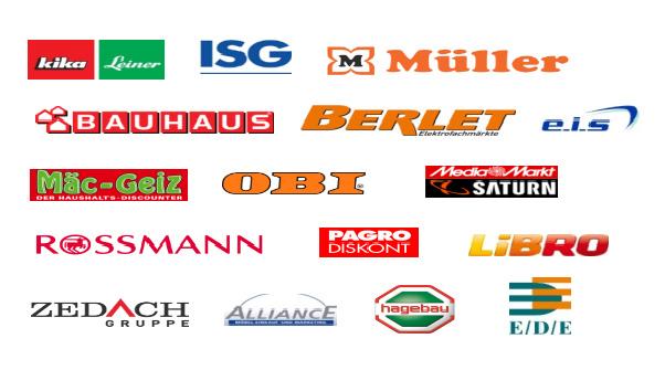 Kika, Leiner, ISG, Müller, Bauhaus, Berlet, E. I. S., Mäc-Geiz, OBI, Media Markt Saturn, Rossmann, Pagro Diskont, Libro, Zedach Gruppe, Alliance, Hagebau, E/D/E